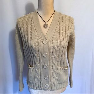 Vintage Cream Button Down Cardigan S/M